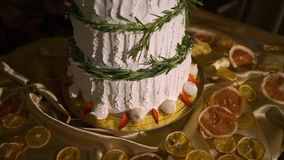Beautiful wedding cake decorated with rosemary. stock video footage
