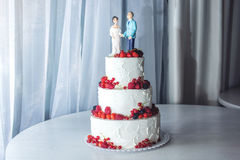 Wedding cake with figurines of the bride and groom on top decorated with strawberries on the tiers. Beautiful wedding cake with figurines of the bride and groom Royalty Free Stock Images