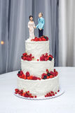 Wedding cake with figurines of the bride and groom on top decorated with strawberries on the tiers. Beautiful wedding cake with figurines of the bride and groom Royalty Free Stock Photos