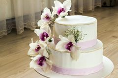 Beautiful wedding cake with flowers, close up of cake with blurr. Ed background, selective focus Royalty Free Stock Photos