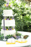 Beautiful wedding cake outside Royalty Free Stock Image