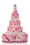 Beautiful wedding cake, with pink roses Stock Images