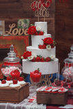 Beautiful wedding cake with strawberry and decoration of the hal Royalty Free Stock Images