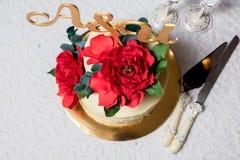 Beautiful wedding cake on the table Stock Photography