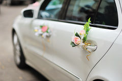Beautiful Wedding car decoration outdoor Royalty Free Stock Image