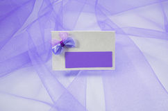 Beautiful wedding card with a handmade bow Royalty Free Stock Photos