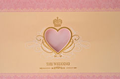 Beautiful wedding card. Beautiful pink wedding card design for invitation Royalty Free Stock Image