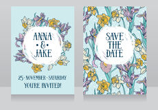 Beautiful wedding cards in art deco retro style with irises and narcissus flowers Royalty Free Stock Images