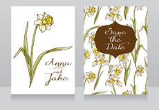 Beautiful wedding cards in art deco retro style with narcissus flowers Stock Image