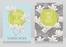 Beautiful wedding cards with magnolia flowers. Vector illustration Royalty Free Stock Photos