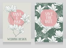 Beautiful wedding cards with magnolia flowers. Vector illustration Stock Images