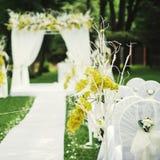 Beautiful wedding ceremony. Wedding ceremony in sunny garden Royalty Free Stock Photography