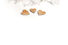 Beautiful Wedding Christmas or valentines lights with pearls and vintage rustic wooden hearts Royalty Free Stock Photos