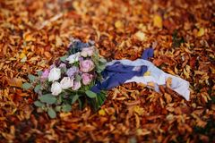 Beautiful wedding colorful bouquet for bride. Beauty of colored flowers stock photography