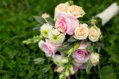 Beautiful wedding colorful nosegay and rings on. Beautiful wedding colorful nosegay of pink and peach roses with rings. Selective focus stock photo