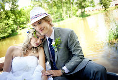 Beautiful wedding couple Stock Images