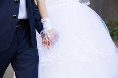 Beautiful wedding couple, bride and groom holding hands Royalty Free Stock Image