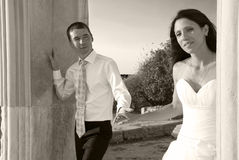 Beautiful wedding couple. Bride and groom. Just married. Black and white, sepia Stock Image