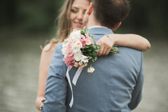 Beautiful wedding couple, bride,groom kissing and posing on the bridge near lake Stock Photography