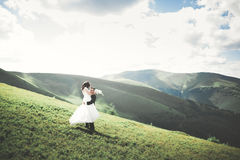 Beautiful wedding couple, bride and groom, in love on the background of mountains Stock Images