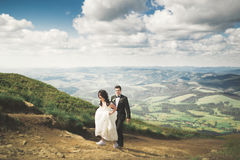 Beautiful wedding couple, bride and groom, in love on the background of mountains Stock Image