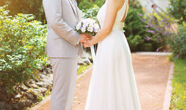 Beautiful wedding couple, bride and groom. On the nature in sunny day Royalty Free Stock Photo
