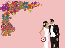 Beautiful wedding couple card Stock Photography