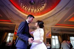 Beautiful Wedding Couple Dance In Restaurant Royalty Free Stock Image