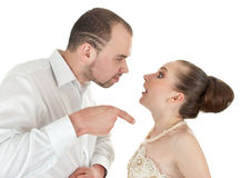 Beautiful  wedding couple discussing Royalty Free Stock Photo