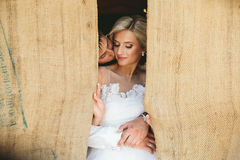 Beautiful wedding couple in doorway Stock Photography