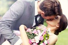 Beautiful wedding couple enjoying wedding royalty free stock image