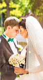 Beautiful wedding couple is enjoying wedding. Just marriade Stock Images