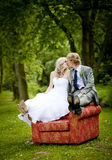 Beautiful wedding couple. Is having fun outside Royalty Free Stock Images