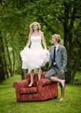 Beautiful wedding couple. Is having fun outside Stock Photography