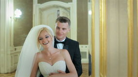 Beautiful wedding couple indoors stock video