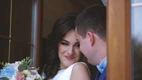 Beautiful Wedding Couple Lovely Embraces stock video footage