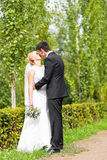 Beautiful wedding couple outdoors. They kiss and hug each other Royalty Free Stock Photo