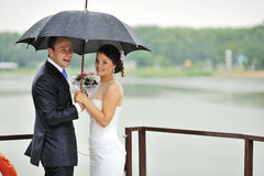 Beautiful wedding couple - outdoors Stock Image