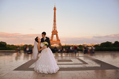 Beautiful wedding couple in Paris royalty free stock photo