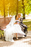 Beautiful wedding couple in park. kiss and hug Royalty Free Stock Images