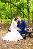Beautiful wedding couple in park. They kiss and hug each other Royalty Free Stock Photography