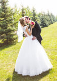 Beautiful wedding couple in park. They kiss and hug each other Stock Images