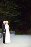 Beautiful wedding couple portrait, outdoors Stock Photography