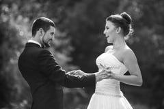 Beautiful wedding couple posing Stock Image
