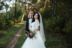 Beautiful wedding couple posing Royalty Free Stock Image