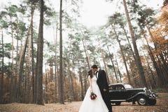 Beautiful wedding couple posing near splendid retro car Royalty Free Stock Photo