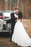 Beautiful wedding couple posing near splendid retro car Stock Images
