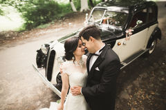 Beautiful wedding couple posing near splendid retro car Royalty Free Stock Photos
