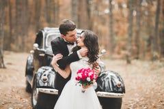 Beautiful wedding couple posing near splendid retro car Royalty Free Stock Image