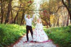 Beautiful wedding couple. Posing in park Stock Photos